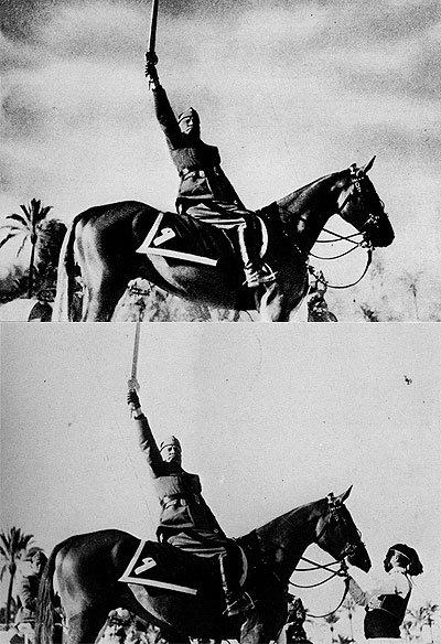 Es borrado un ayudante que sujeta el caballo de Mussolini